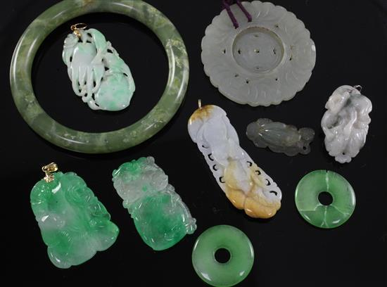 A group of five jadeite pendants and other hardstone carvings, 20th century, 2.4 to 7.7.cm (10)