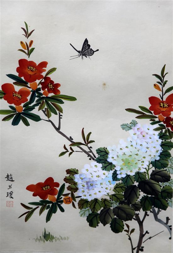 A pair of Chinese paintings on silk, 20th century, 53 x 32.5cm