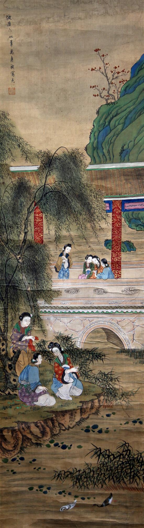 Three Chinese scroll paintings on silk, 19th century, 124 x 34.5cm and 122 x 34cm excluding borders, some faults