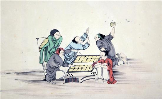 A set of eleven Chinese pen, ink and watercolours on paper of court scenes, late 19th/early 20th century, 27cm x 43cm