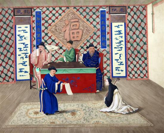A Chinese watercolour on paper of a scene form a Chinese opera, 19th century, 41.5 x 52cm
