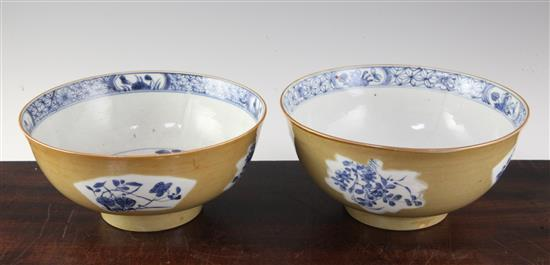 Two Chinese Batavia ware bowls, Qianlong period, 22.5 and 23cm, largest bowl cracked