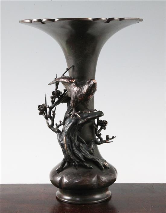 A Japanese patinated bronze 'falcon' vase, signed Seiya Saka, Meiji period, height 31.5cm