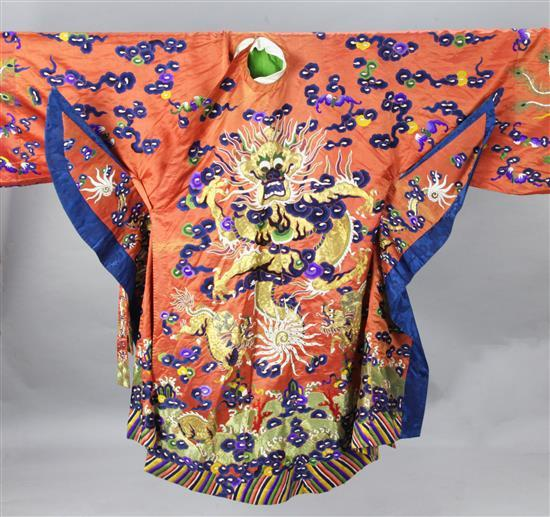 A Chinese embroidered silk and metal thread 'dragon' theatrical robe, early 20th century, length 121cm