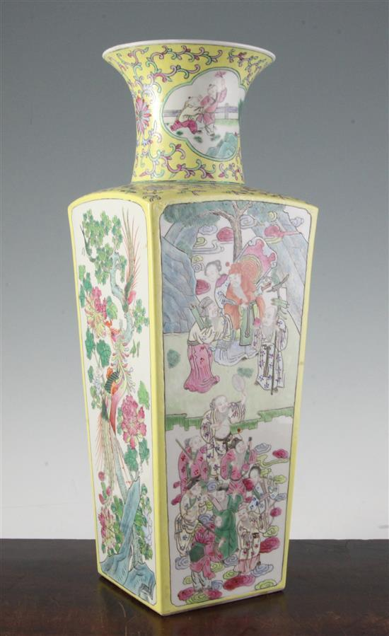 A Chinese famille rose square baluster vase, 20th century, 42cm