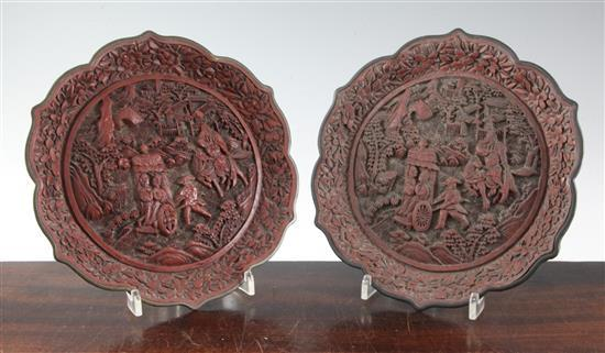 Two Chinese cinnabar lacquer dishes, early 20th century, 23cm, some wear