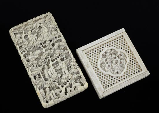 A Chinese export ivory card case and a similar tangram puzzle, 19th century, 8.5 and 5.1cm