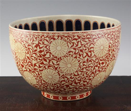 A Japanese Satsuma 'kikumon' deep bowl, Meiji period, possibly an Imperial presentation, height 15.5cm, diameter 23.5cm
