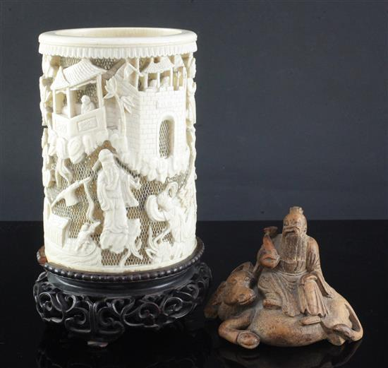 A Chinese ivory brush pot and stand and a bamboo carving, 20th century, height 9cm (2)