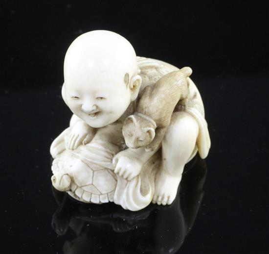 A good Japanese ivory netsuke, signed Seiko, Meiji period height 4cm