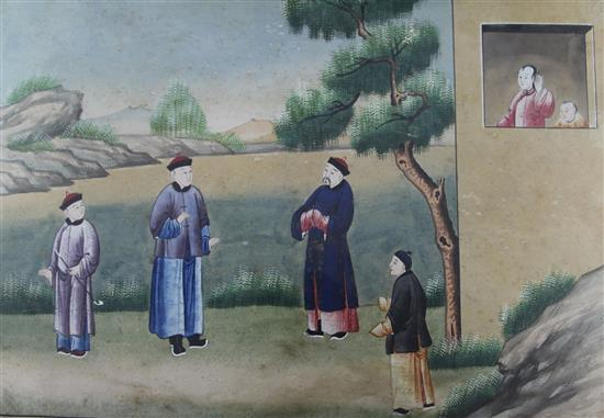 A pair of Chinese paintings on paper of figures in landscapes, Qianlong period, 41 x 60.5cm