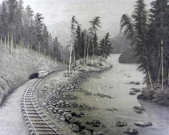 A Japanese embroidered silk picture of a railroad, early 20th century, 41.5 x 49.5cm