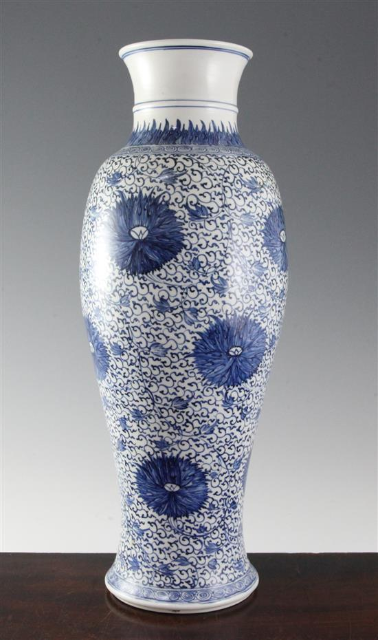 An unusual Chinese ''Ming-style'' blue and white slender baluster vase, Kangxi period, 45.5cm