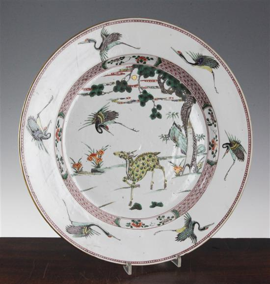 A Chinese famille verte dish, Kangxi period, 38.5cm