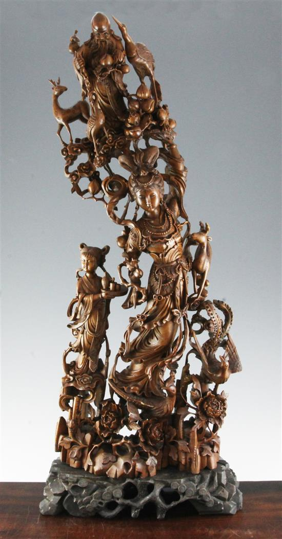 A large Chinese boxwood group of immortals, 20th century, total height 84cm