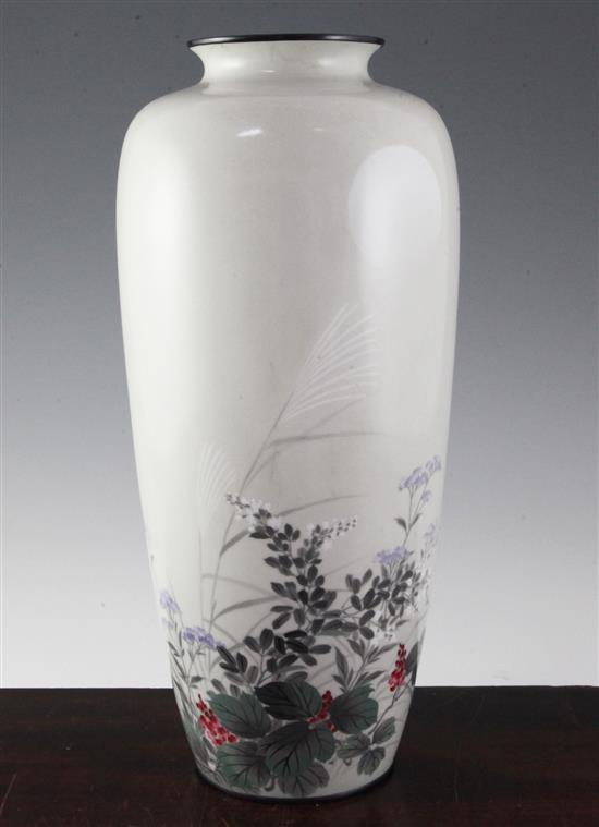A Japanese musen enamel tall vase, early 20th century, 36.5cm
