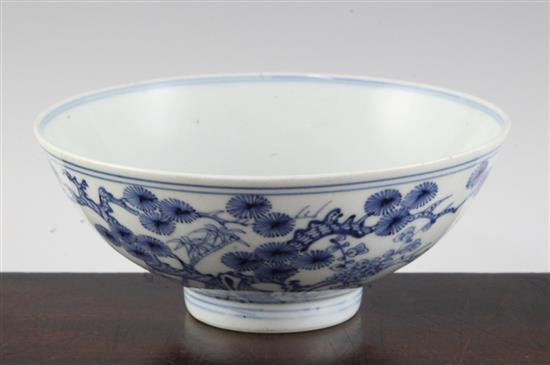 A Chinese blue and white 'Three Friends' bowl, Yongzheng six character mark and of the period, diameter 15.5cm, hairline crack
