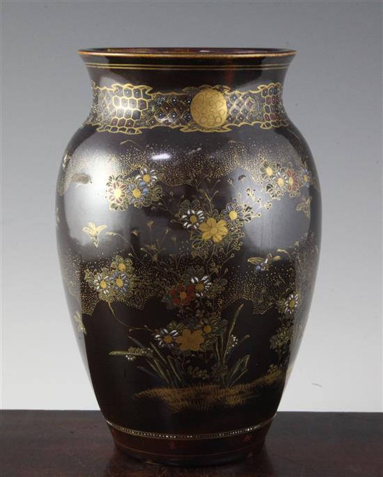 A Japanese Satsuma pottery simulated lacquer vase, signed Taizan, 25cm