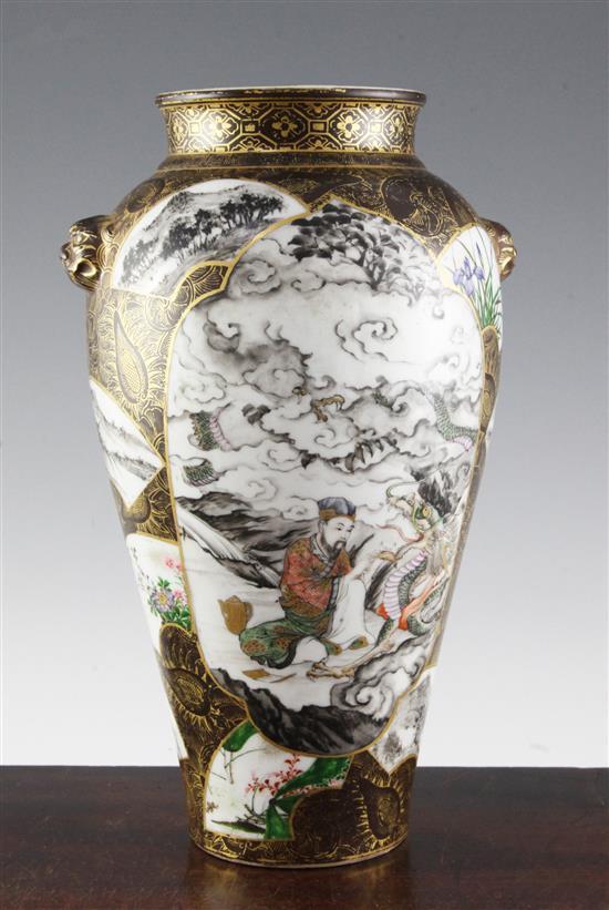 A Japanese porcelain ovoid vase, by Kanzan Denshichi (1821-1890) of Kyoto, Meiji Period, 32cm, wear to gilding