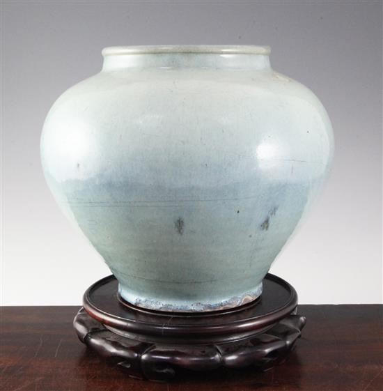 A Chinese numbered Jun type high shouldered jar, 18th century or earlier, height 26cm, diameter 30cm, faults