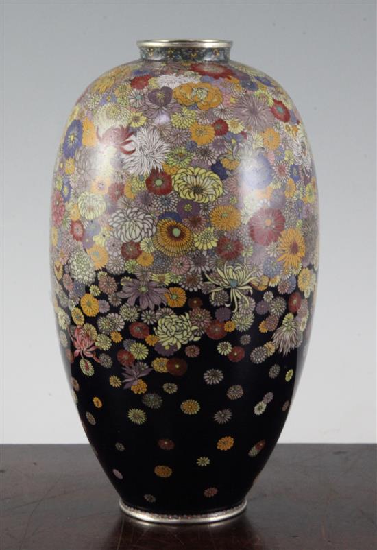 A Japanese ''millefleur'' silver wire cloisonne enamel vase, 20cm