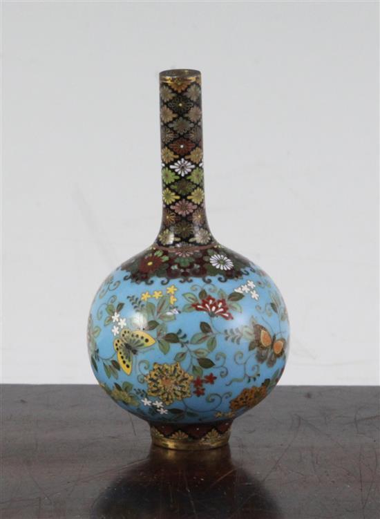 Namikawa Yasuyuki. A small Japanese cloisonne enamel bottle vase, Meiji period, 9.3cm, damage to one side