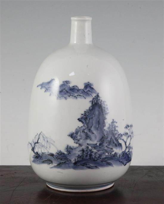A Japanese Hirado blue and white sake flask (tokkuri), c.1750-1800, 18.5cm