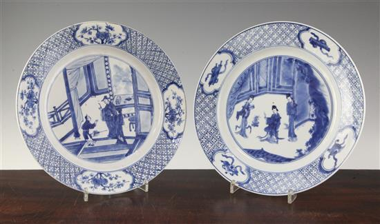 Two Chinese blue and white plates, Kangxi period, 26cm, rim nibbles and one plate cracked