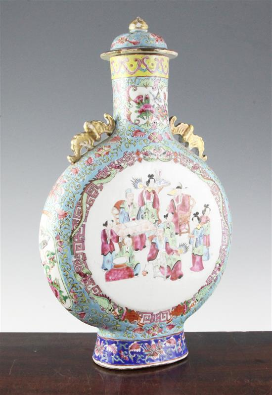 A large Chinese Canton-decorated famille rose moon flask and cover, 19th century, 44cm, restoration