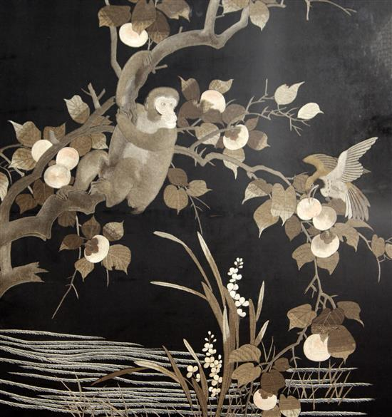 Two Japanese black silk panels, early 20th century, largest 64 x 57cm