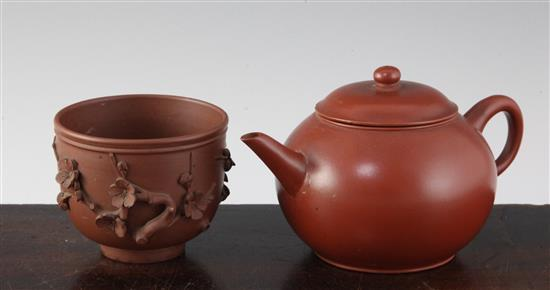 A Chinese Yixing pottery globular teapot and a similar 'prunus' cup, 19th century, 6.5cm