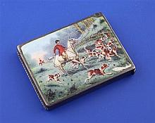 An Edwardian silver and enamel rectangular vesta case, the lid decorated with fox hunting scene, 1.75in.