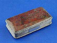 A William IV silver and jasper hardstone snuff box, 3.75in.