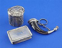 Scottish horn snuff, silver vinaigrette & pill box