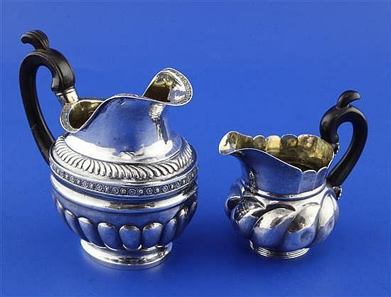 Two early 19th century Russian 84 zolotnik silver cream jugs, gross 8 oz.