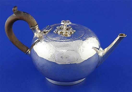 A Victorian silver bullet shaped teapot by Francis David Dexter, gross 11 oz.