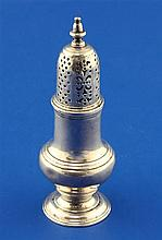 A George II silver baluster caster or pepperette by Samuel Wood, 3 oz.