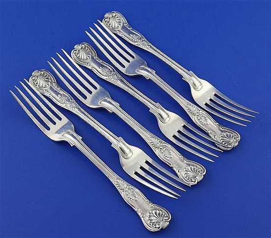 A set of six George IV silver double struck King's pattern dessert forks by William Chawner, 12 oz.