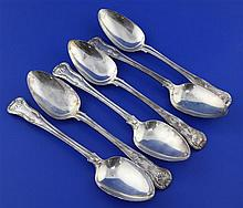 A set of six George III silver double struck King's pattern table spoons by Josiah & George Piercy, 19 oz.