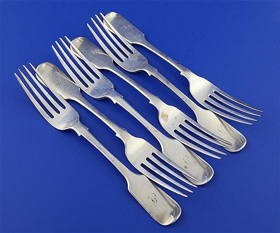 A set of six Victorian silver fiddle pattern table forks by William Eaton, 14.5 oz.