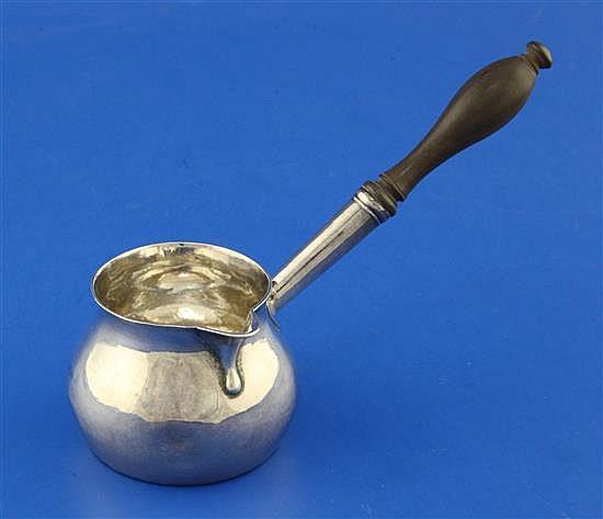 A George II silver brandy saucepan by John Gamon, gross 90 grams.