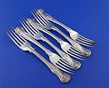 A set of six George IV silver double struck King's pattern table forks, 21.5 oz.