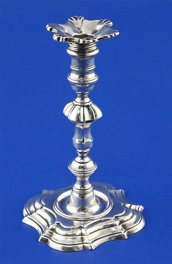 A George II silver taperstick by William Gould, 4.5 oz.