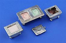 An Edwardian silver demi-lune double stamp box, 2 singles and an envelope.