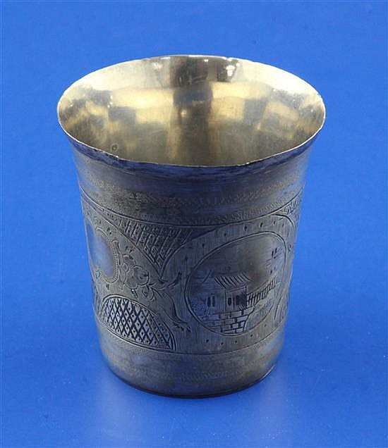 A 19th century Russian 84 zolotnik silver and niello tumbler, 44 grams.