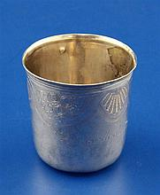 A late 18th century French silver tumbler, 58 grams.