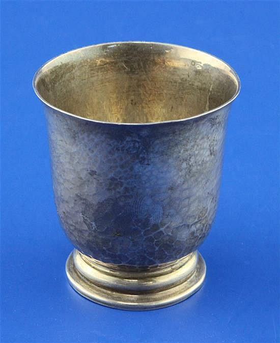 A late 19th century French 950 standard planished silver beaker, 91 grams.