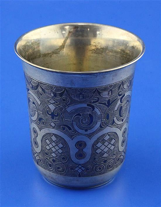 A 19th century Russian 84 zolotnik silver and niello beaker, 4.5 oz.