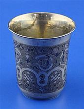 A 19th century Russian 84 zolotnik silver and niello beaker, 4.5 oz.