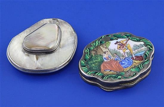 An early 20th century Swiss? 800 standard silver and polychrome enamel compact and shell snuff box.